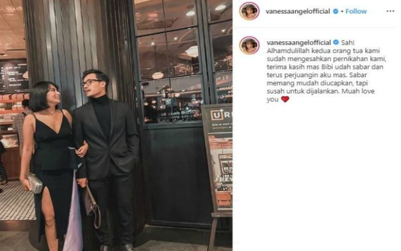 Screenshot postingan di akun Instagram Vanessa Angel